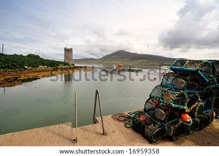 Kildavnet pier and castle,Achill Island,Co.Mayo, Ireland