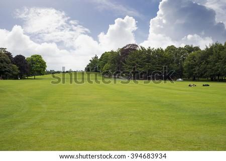 kilkenny castle garden grounds and park - stock photo