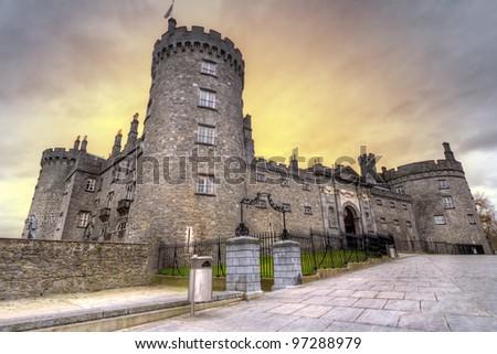 Kilkenny Castleat dusk, Co. Kilkenny, Ireland - stock photo