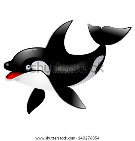 Killer Whale cetacean Cartoon - stock photo