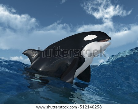 Killer whale in the stormy ocean Computer generated 3D illustration