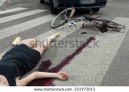 Killing accident on the pedestrian crossing, horizontal