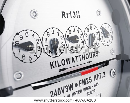 Kilowatt hour electric meter, power supply meter. 3d rendering - stock photo