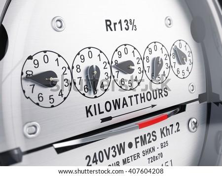 Kilowatt hour electric meter, power supply meter. 3d rendering - stock photo