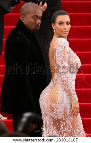 Kim Kardashian and Kanye West attend the Costume Institute benefit gala at the Metropolitan Museum of Art on May 4, 2015 in New York.