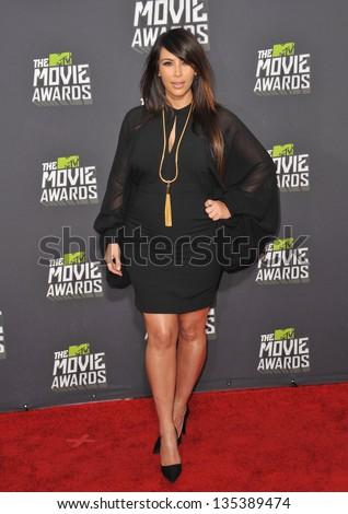 Kim Kardashian at the 2013 MTV Movie Awards at Sony Studios, Culver City. April 14, 2013  Los Angeles, CA Picture: Paul Smith - stock photo