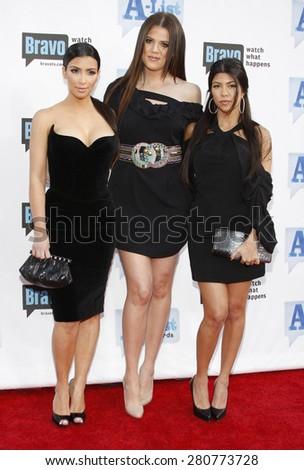 Kim Kardashian, Khloe Kardashian and Kourtney Kardashian at the 2009 Bravo's A-List Awards held at the Orpheum Theatre in Los Angeles on April 5, 2009.  - stock photo