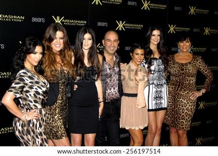 Kim Kardashian, Khloe Kardashian, Kylie Jenner, Bruno Schiavi, Kourtney Kardashian,  Kendall Jenner and Kris Jenner at the Kardashian Kollection Party held at the Colony in Hollywood on 17.8.2011. - stock photo