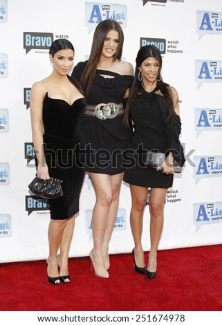 Kim, Khloe and Kourtney Kardashian at the Bravo's 2nd Annual A-List Awards held at the Orpheum Theater in Los Angeles, California, United States on April 5, 2009.  - stock photo