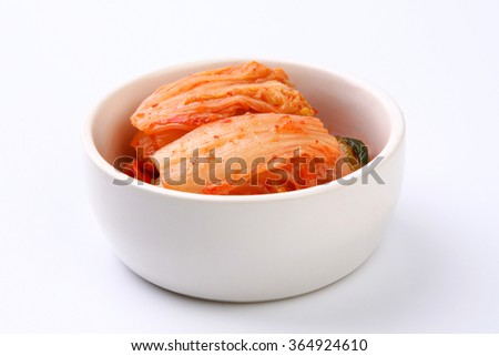 Kimchi isolated on white background - stock photo