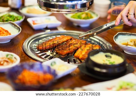 Kimchi Korean cuisine barbecue grill meat and vegetables - stock photo