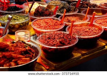 Kimchi, Korean pickle food at traditional market on Jeju Island/Kimchi on sale - stock photo