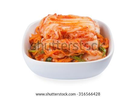 Kimchi (Koreaood) isolated on white background - stock photo