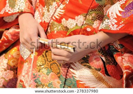 Kimono marriage, brilliant and elegant bride of kimono, Handy sense - stock photo