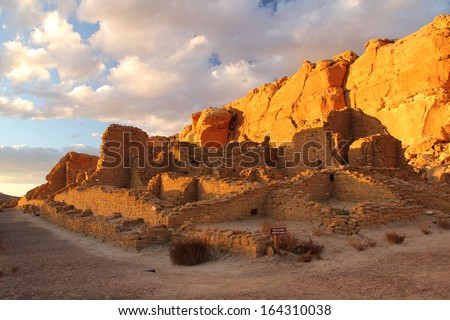 Kin Kletso, Chaco Culture National Historical Park, New Mexico - stock photo