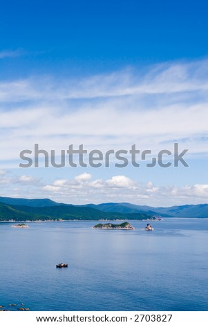 Kind on a gulf in summer day. - stock photo