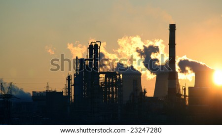 kind on the Moscow  petrochemical factory in the early morning
