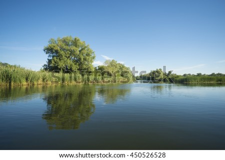 Kind on the river with green coast and clouds - stock photo