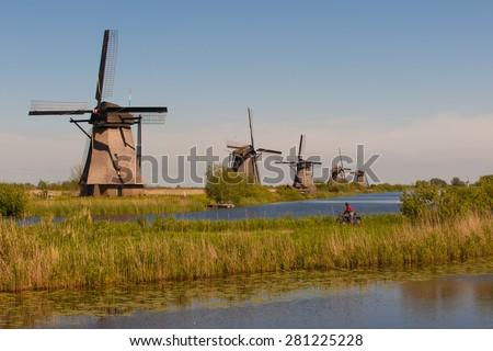Kinderdijk Holland windmills - stock photo