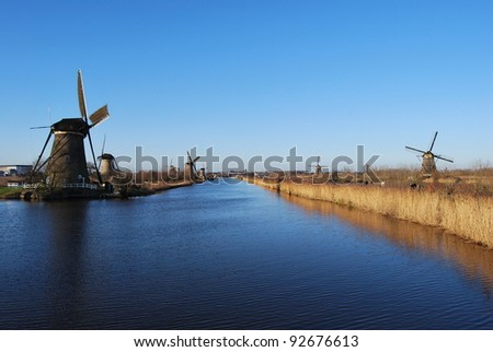 Kinderdijk Windmills in The Netherland - stock photo