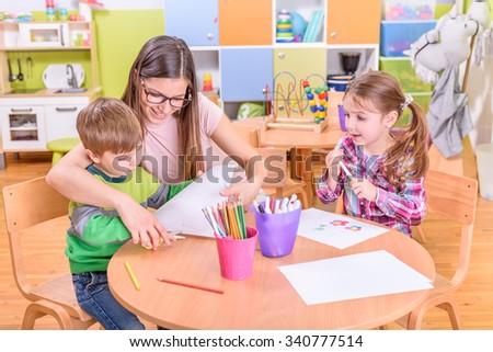 Kindergarten Arts & Crafts Activities - stock photo