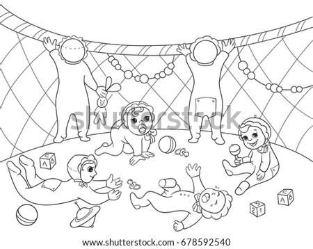 Kindergarten Coloring Book For Children Cartoon Raster Illustration Zentangle Style Black And White