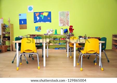 Kindergarten Preschool Classroom Interior - stock photo