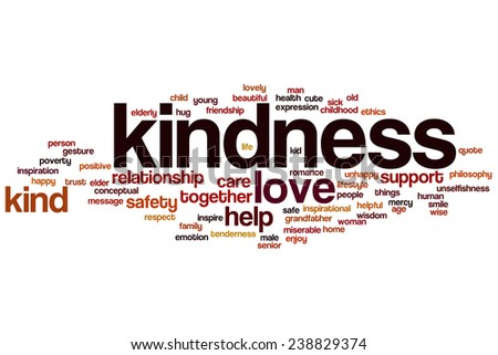 Kindness word cloud concept with love help related tags - stock photo