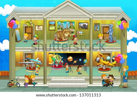 Kinds on vacations - cross section - play fun and education - illustration for the children