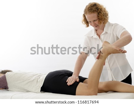 Kinesiologist or physiotherapist treating Hamstrings