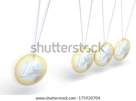 Kinetic toy made of euro coins, 3d rendering on white background - stock photo