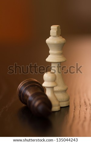 King and pawn defeats dark opponent on wooden table.