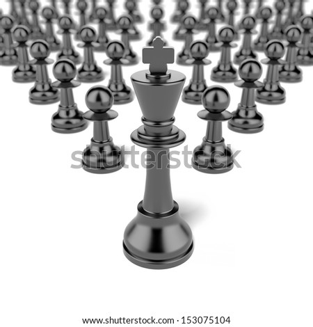 king and pawn. leadership concept - stock photo