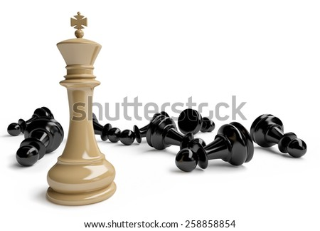 king and pawns - stock photo
