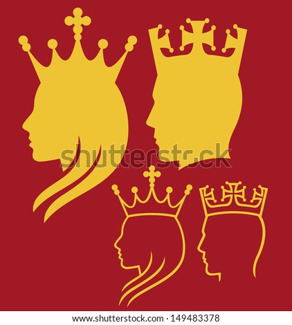 king and queen heads (king and queen face man, silhouette head of a king and queen) - stock photo