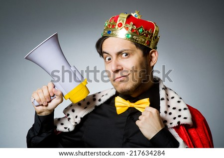King businessman in funny concept - stock photo