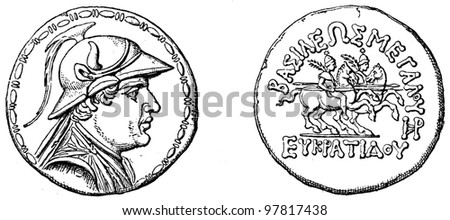 """King, Castor and Pollux, Tetradrahmon of Bactrian king Evkratid, about 150 BC - an illustration to articke """"Coins"""" of the encyclopedia publishers Education, St. Petersburg, Russian Empire, 1896 - stock photo"""