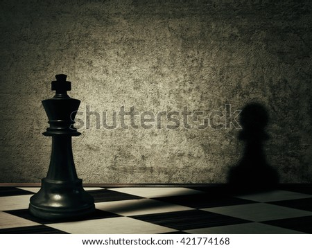 King chess piece casting a shadow of a pawn on a concrete wall. Complex and mismanagement concept. Magical transformation - stock photo
