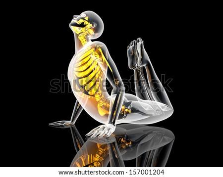 King Cobra Yoga pose. 3D illustration. - stock photo