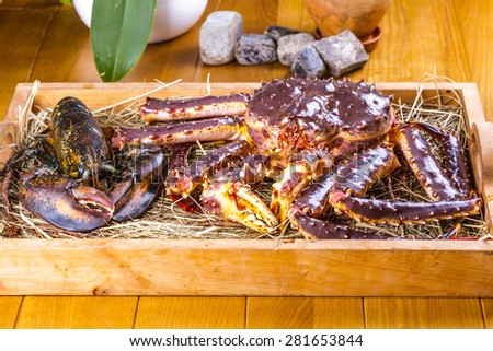 King crab and lobster - stock photo