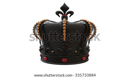 King crown in black with gold and ruby decorative gems over it isolated on white background