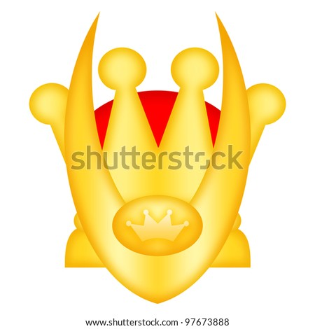 King crown with horns isolated over white background - stock photo