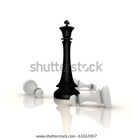King defeats pawns in chess - a 3d image