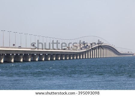 King Fahd Causeway which connects Saudi Arabia and Bahrain. Manama, Kingdom of Bahrain, Middle East - stock photo