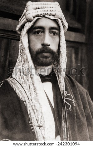 King Faisal (Faysal) Iraq's King in 1921 under British sponsorship. Faisal, a non-Iraqi from the ruling family of Mecca, gradually achieved Iraq's complete independence from Britain in 1930. - stock photo