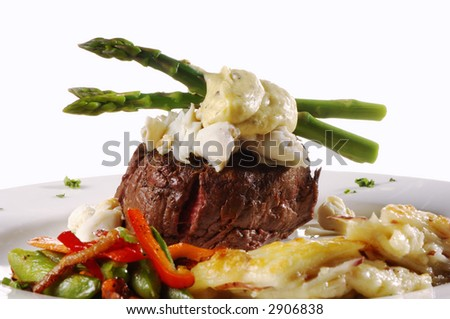 King Fillet Mignon with Crab Meat and Vegetables - stock photo
