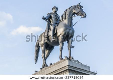 King George IV (1762-1830) statue on Trafalgar Square, London, England. George the Fourth was King of England, Scotland and Ireland. - stock photo