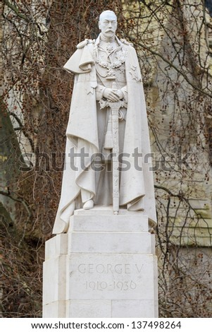 King George V Statue, Old Palace Yard, Westminster, London, UK - stock photo