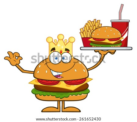 King Hamburger Cartoon Character Holding A Platter With Burger, French Fries And A Soda. Raster Illustration Isolated On White - stock photo