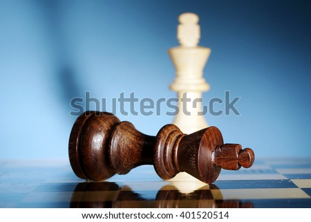 King is checkmated - Chess game over - stock photo